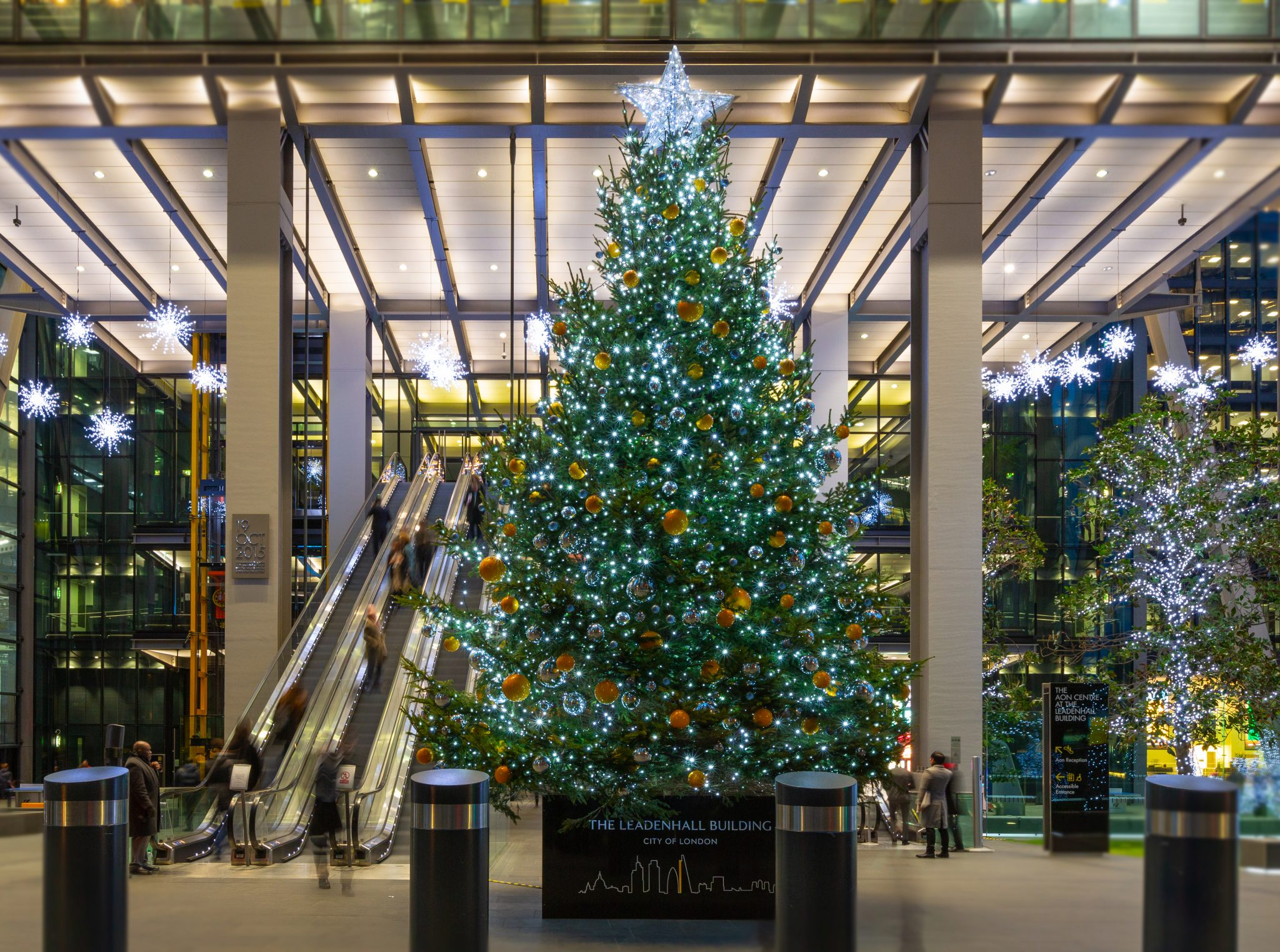 Large fresh commercial Christmas tree at the Leadenhall building in the city of London
