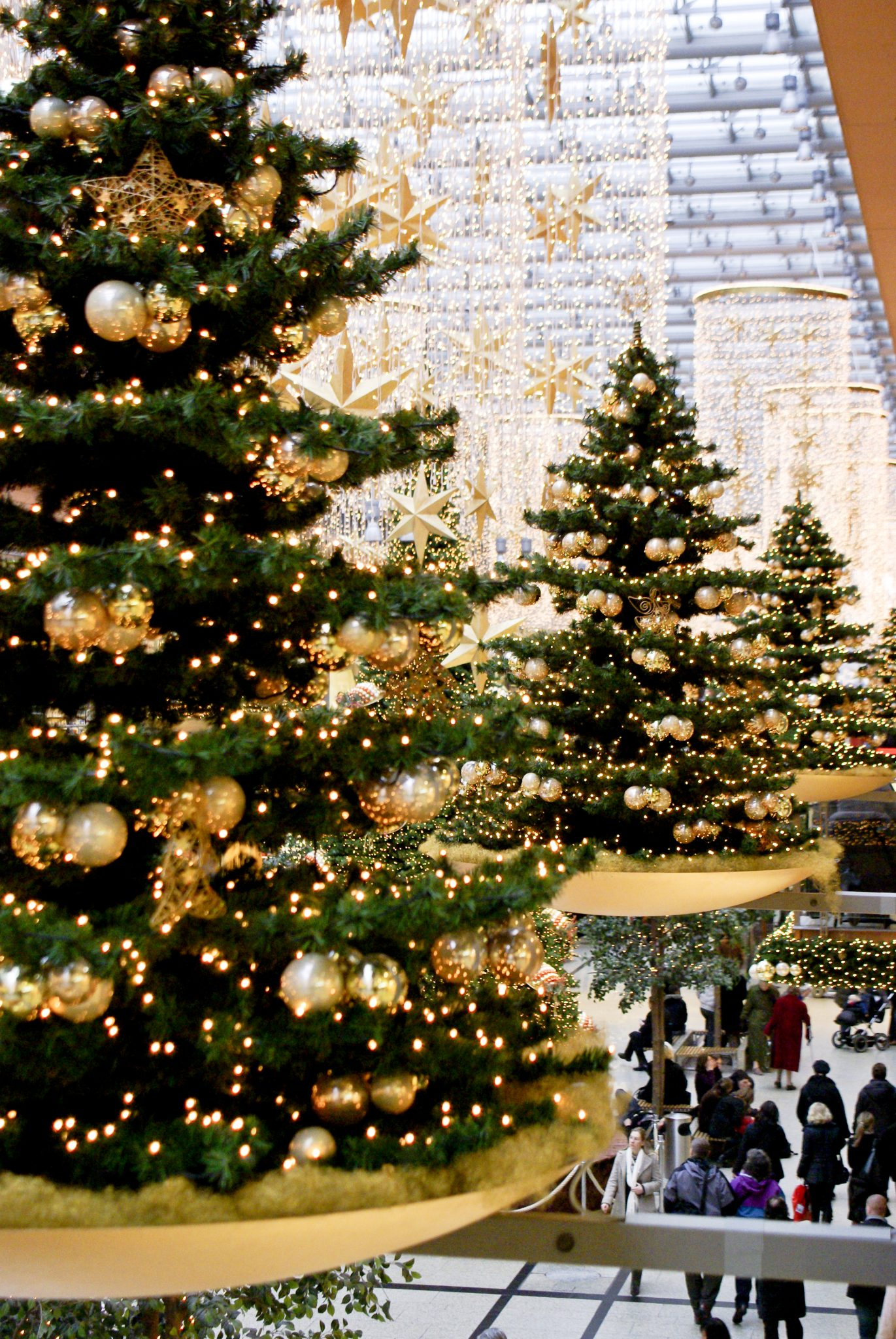 Shopping centre Christmas trees