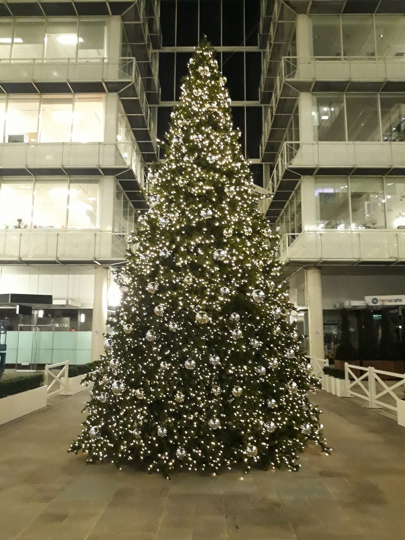 Large commercial Christmas tree with lights and baubles