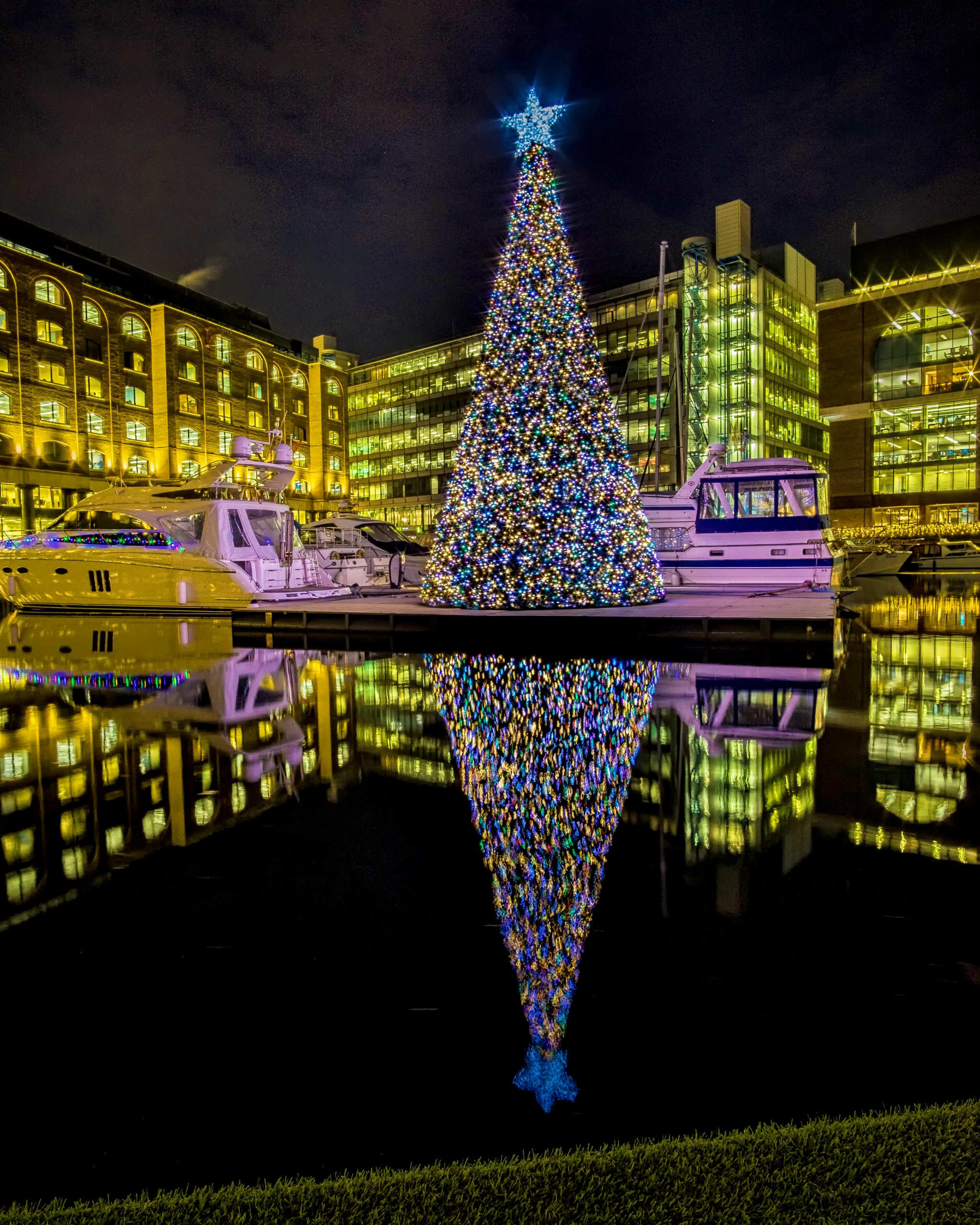 Giant Commercial Christmas tree on the Thames