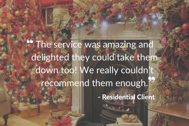 Testimonial against festive fireplace