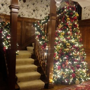 Residential property with Christmas tree and stair garlands